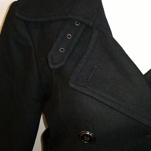 Double Breasted Belted Wool Pea Coat
